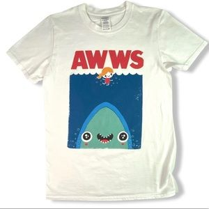 "Jaws Shark Cartoon Tee ""Awww"" 100% Cotton Adult Sm"